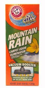 Arm & Hammer Plus Oxi Clean Dirt Fighters Mountain Rain Carpet Odor Eliminator with Vacuum Booster Loosens and Helps Lift Dirt for Long Lasting Freshness 42.6 Oz (1 Each) by arm and hammer. $6.99. carpet odor eliminator. arm and hammer plus oxi clean. with vacuum booster. mountain rain scent. 42.6 oz. (1 each). long lasting freshness for your carpet