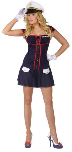 Womens Sexy Navy Captain Military Costume Halloween Medium Large Adult 10 Dress | eBay