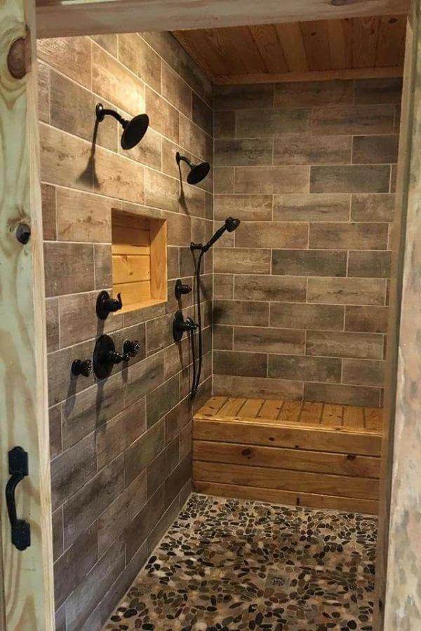 55 Luxury Walk In Shower Tile Ideas That Will Inspire You Part 26 Ideas Inspire Luxury In 2020 Unique Bathroom Tiles Rustic Bathroom Shower Master Bathroom Shower