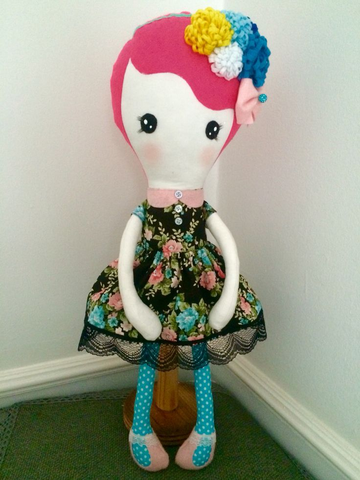 Pixie, handmade doll, 21in/55cm, rag doll, fabric doll, pink hair, sassy