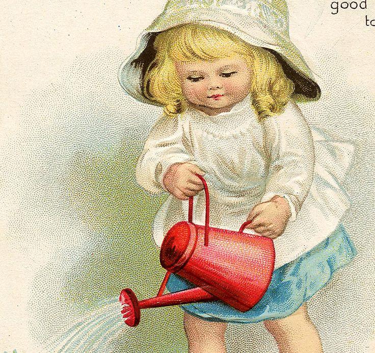Adorable Vintage Garden Girl Image!