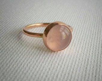 Rosa cuarzo y anillos de cobre, bisel mujeres cabujón engastado anillo, Bohemia rosa cuarzo y anillos de cobre, las mujeres bisel engastado anillo