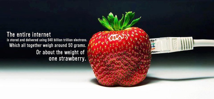 The entire internet is stored and delivered using 540 billion trillion electrons. Which all together weigh around 50 grams.     Or about the weight of on strawberry,