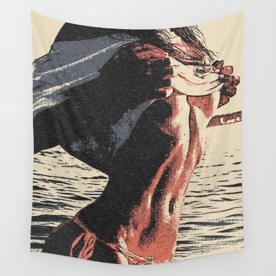 15% Off + Free Shipping on Tapestries Today! Lifeforce, sexy girl in bikini, woman teasing in water, erotic, kinky, seducing pose #sale #promo #erotic #art #kinky