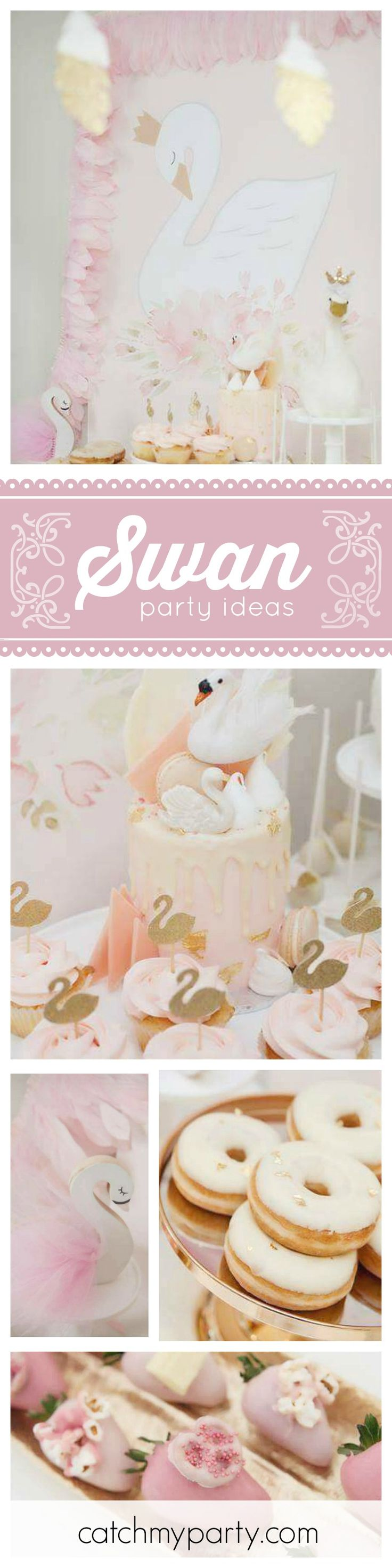 A gorgeous Swan birthday party!! The gold swan toppers on the cupcakes are simple yet so beautiful! See more party ideas at CatchMyParty.com