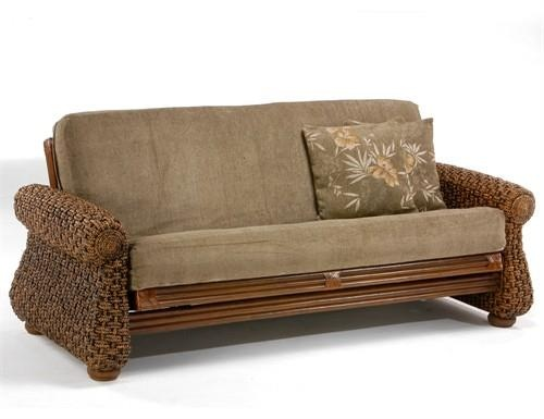 Iris Twin Lounger Futon Frame. Iris Twin Lounger Futon Frame The Iris is the Grand Master of our rattan collection and comes complete with waterfall, banana trees and a couple of monkeysOur Rattan Floral Collection, built in wicker and natural fiber weave.. . See More Futon Frames at http://www.ourgreatshop.com/Futon-Frames-C1037.aspx