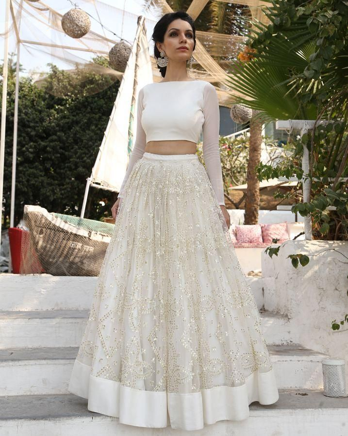 Cute Amazing Two Pieces Wedding Dresses Sequined Indian Wear With Long Sleeves Custom Made Bridal Gowns