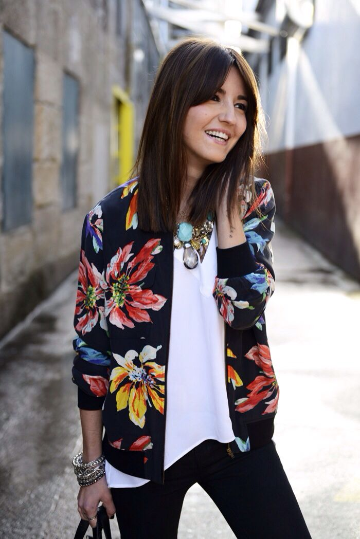 Big bold flower cardigan on black and statement necklace