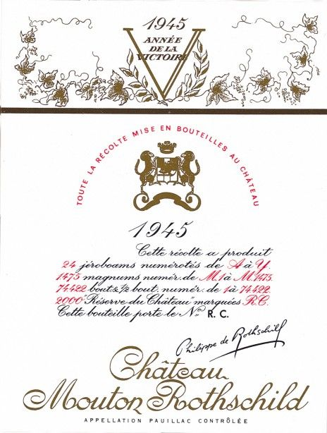 Etiquette Mouton Rothschild 1945 Philippe Jullian