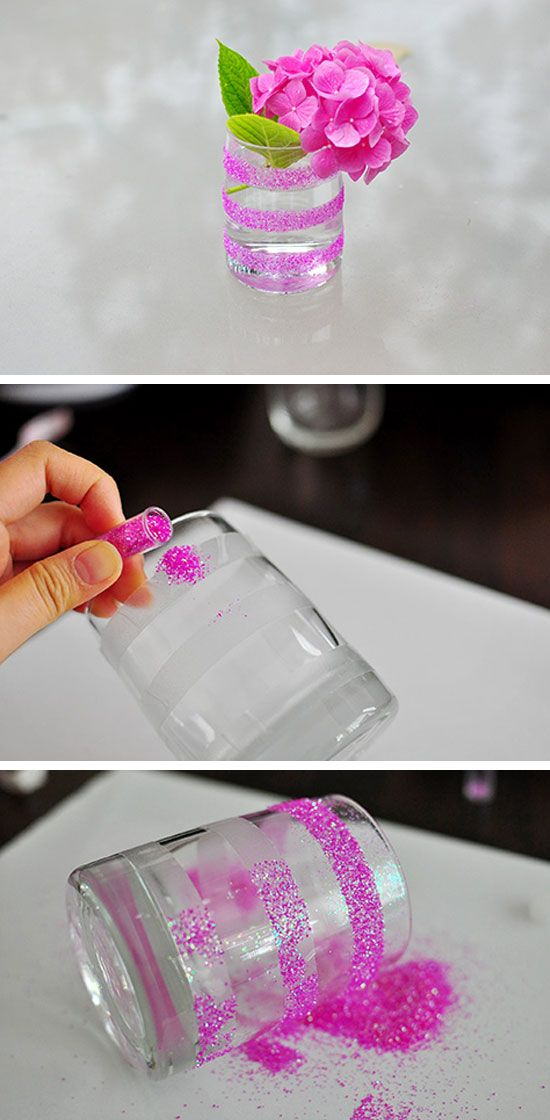 Easy Striped Glitter Vase | Click Pic for 26 DIY Wedding Centerpieces on a Budget | DIY Wedding Decorations for Outside
