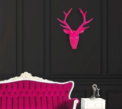 Stag Head Wall Art Fluoro Pink | Paper Products Online