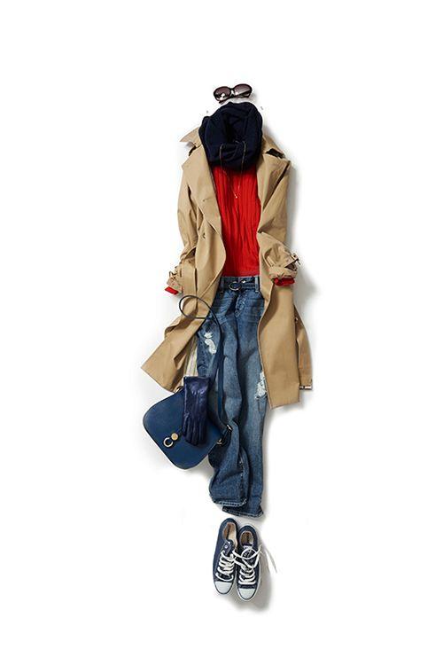 赤を差し色にしたトレンチスタイル 2015-11-05   trench price :96,120 brand : STRASBURGO   sweater price :15,120 brand : TOMORROWLAND/MACPHEE   jeans brand : KORAL/YAMATWO   gloves brand : ALPO