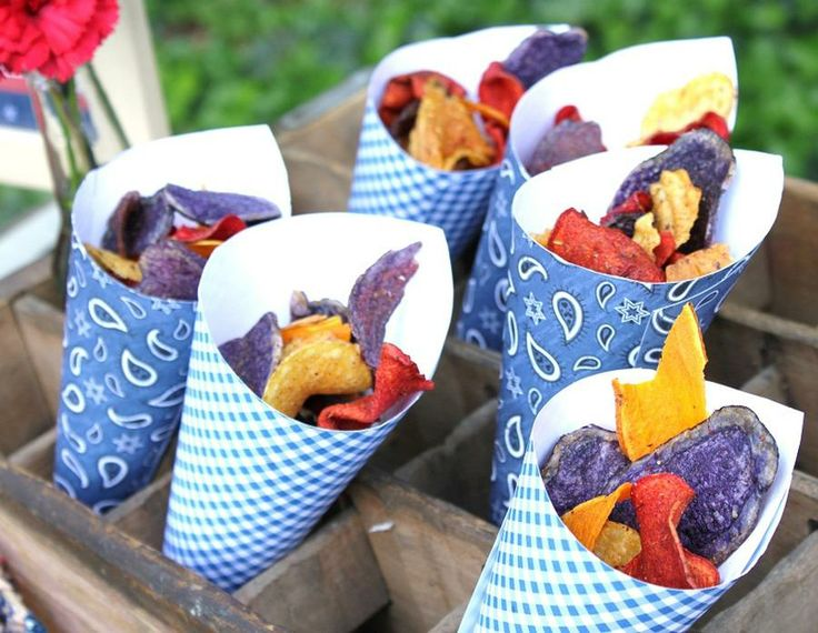 DIY patterned paper cones to fill with chips, popcorn, nuts or sweets.