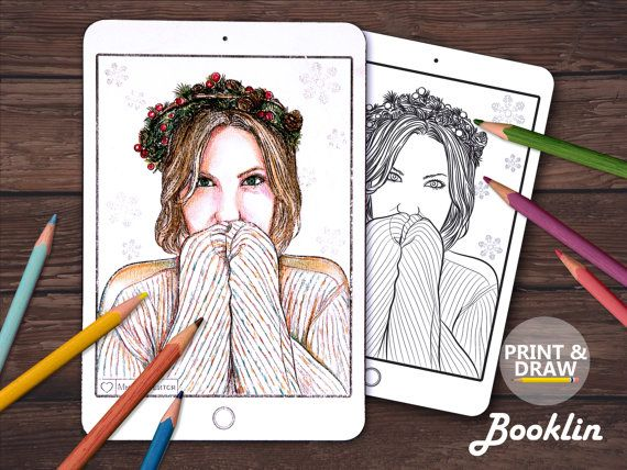 GirlChristmas tree Adult Coloring BookColouring Page от Boooklin