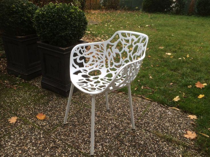 Gartenstuhl Weiß Metall