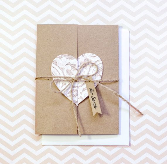 Bridesmaid card - Will you be my Bridesmaid? - Lace heart - Kraft Card - Custom Tag - Personalized Card - Maid of Honor Card