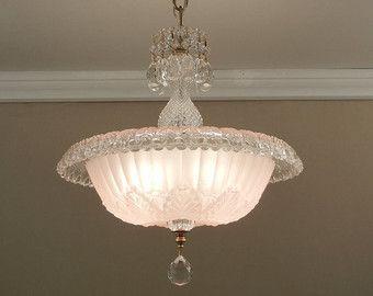 Lampadario d'epoca 1930 antico Art Deco morbido rosa Rim laminati vetro luce plafoniera - ricablato pressato
