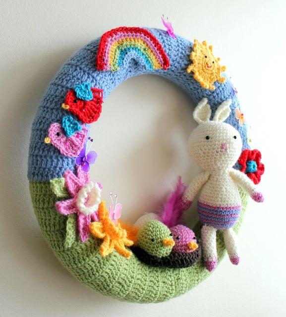 Crochet spring / easter wreath