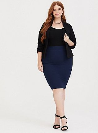 6293c51aac Dark Blue Ponte Pencil Skirt in 2019 | Beauty | Pencil skirt outfits ...