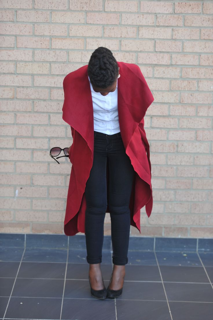 Red oversized collar coat #poncho #SouthAfricanFashion