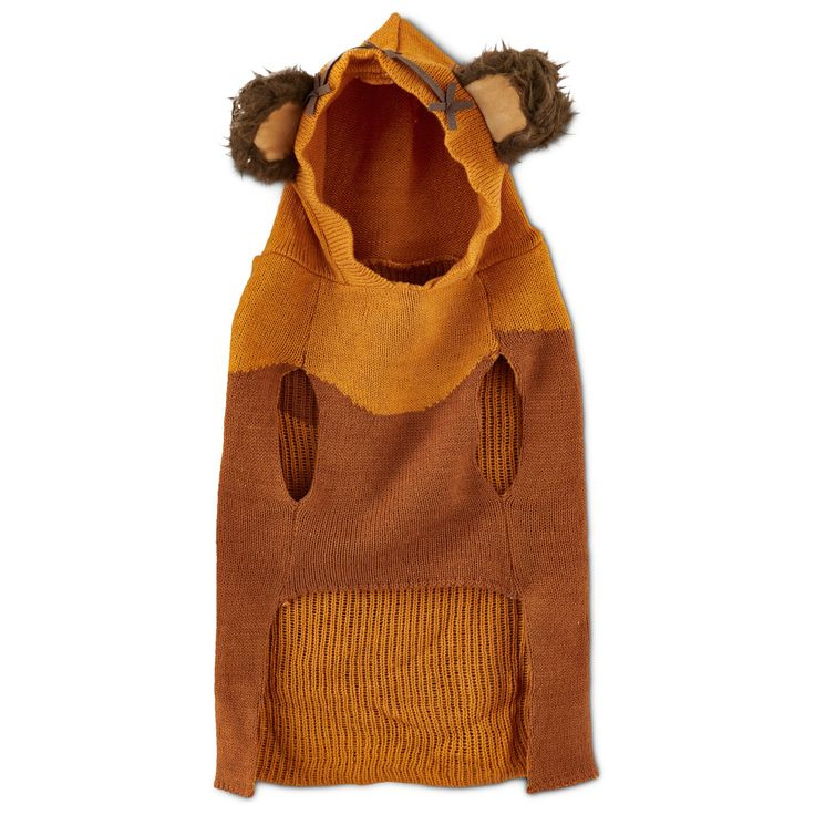 The STAR WARS Ewok Dog Sweater is perfect for any fan-filled celebration. Fiercely loyal companions of all sizes will look ready to defend you from Stormtroopers in this adorable and comfortable dog costume.  Copyright & Trademark Lucasfilms Ltd.