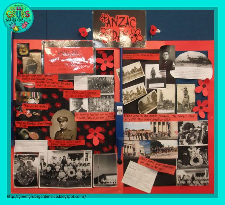 Anzac Day wall display.  Classroom ideas, a family mystery +FREE Printable Wall Posters! {Green Grubs Garden Club Blog}