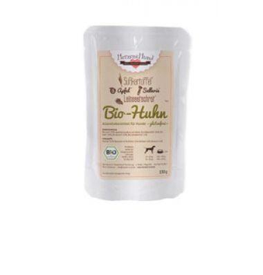Aus der Kategorie Bio-Futter  gibt es, zum Preis von EUR 15,99  Zusammensetzung: Bio-Huhn* (53%; bestehend aus Brust und Hälsen), Bio-Süßkartoffel* (18%) Bio-Apfel* (18%) Bio-Sellerie* (10%) Bio-Leinsaat* (1%) Süßkartoffel ist eines der nährstoffreichsten Gemüse überhaupt. Sie enthält neben wichtigen Mineralstoffen vor allem die Vitamine A, C, B2, B6, sowie Biotin und hochwertige Ballaststoffe und ist glutenfrei.