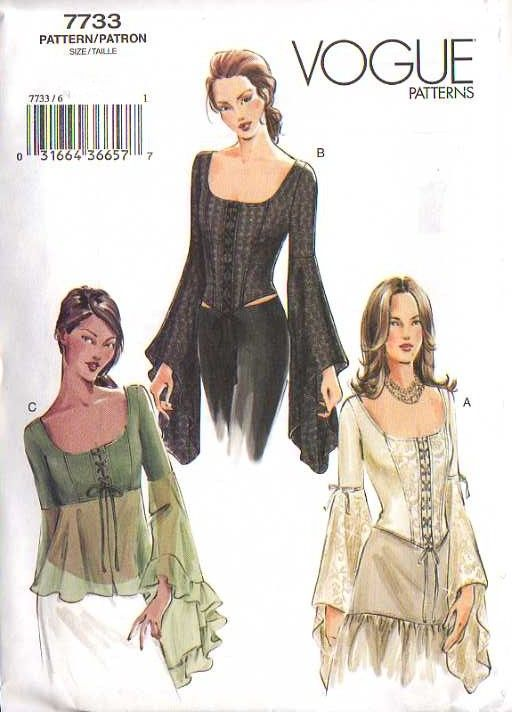 MOMSPatterns Vintage Sewing Patterns - Vogue 7733 Discontinued 2003 Sewing Pattern Bewitching Gothic Medieval Lace Front Corset Blouse, Sheer, Angel Sleeves 6-10
