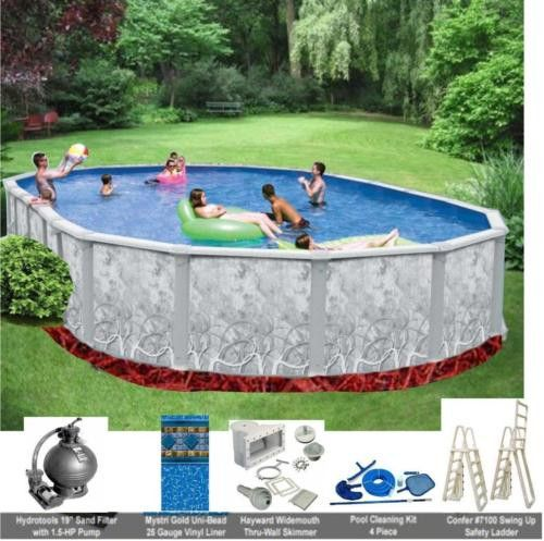 "Free Standing Above Ground Swimming Pools: 15' X 30' X 52"" ABOVE GROUND OVAL SWIMMING POOL PACKAGE"