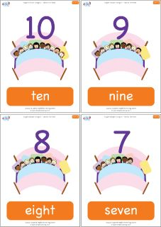"Count down from 10 to 1 with these number flashcards for ""Ten In The Bed"" from Super Simple Learning. #preK #Kindergarten #ESL"
