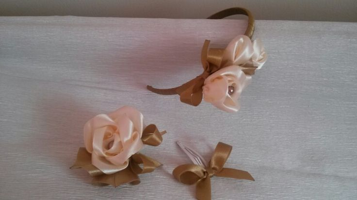 Champagne Rose Set Headband Hairclip