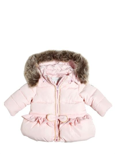 NYLON PUFFER JACKET WITH FAUX FUR TRIM