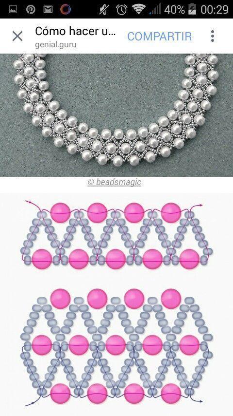 Patrón gratuito para collar de perlas con cuentas de semillas y perlas.