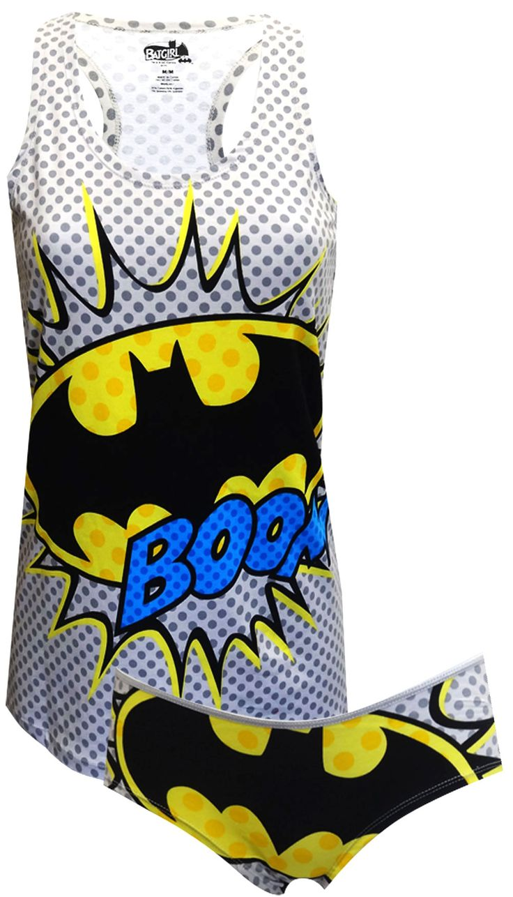 DC Comics Batgirl BOOM! Tank & Panty Set Unleash your inner superhero, ladies! These 95% cotton/ 5% spandex tank and panty sets...