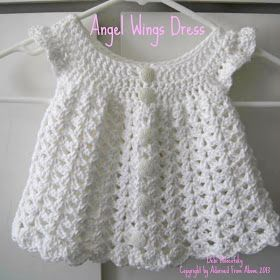 Adorned From Above: Angel Wing Crocheted Dress Pattern Newborn