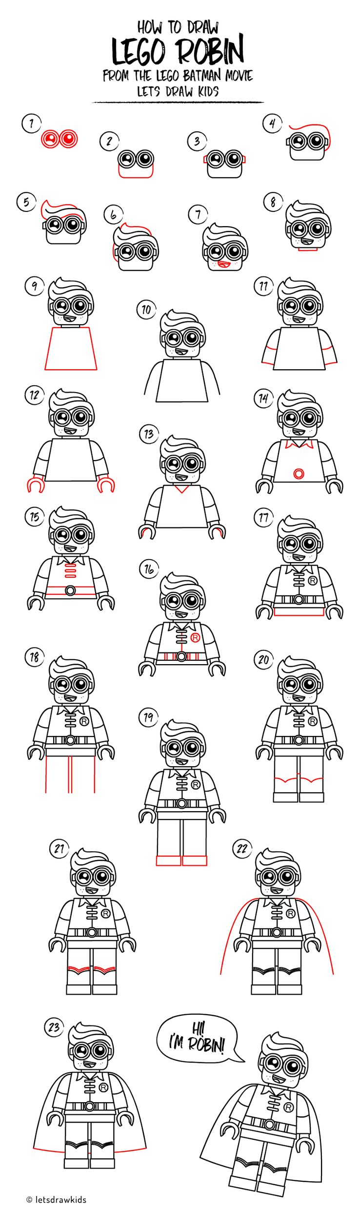 How to draw LEGO ROBIN. Easy drawing, step by step, perfect for kids! Let's draw kids.