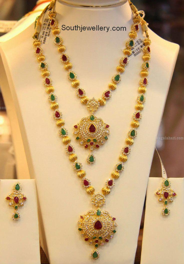 Ruby Emerald Diamond Gold Balls Necklace Set