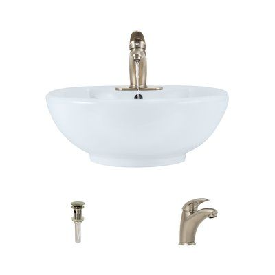 mrdirect porcelain circular vessel bathroom sink with overflow sink finish white faucet finish - Kohler Armaturen L Eingerieben Bronze