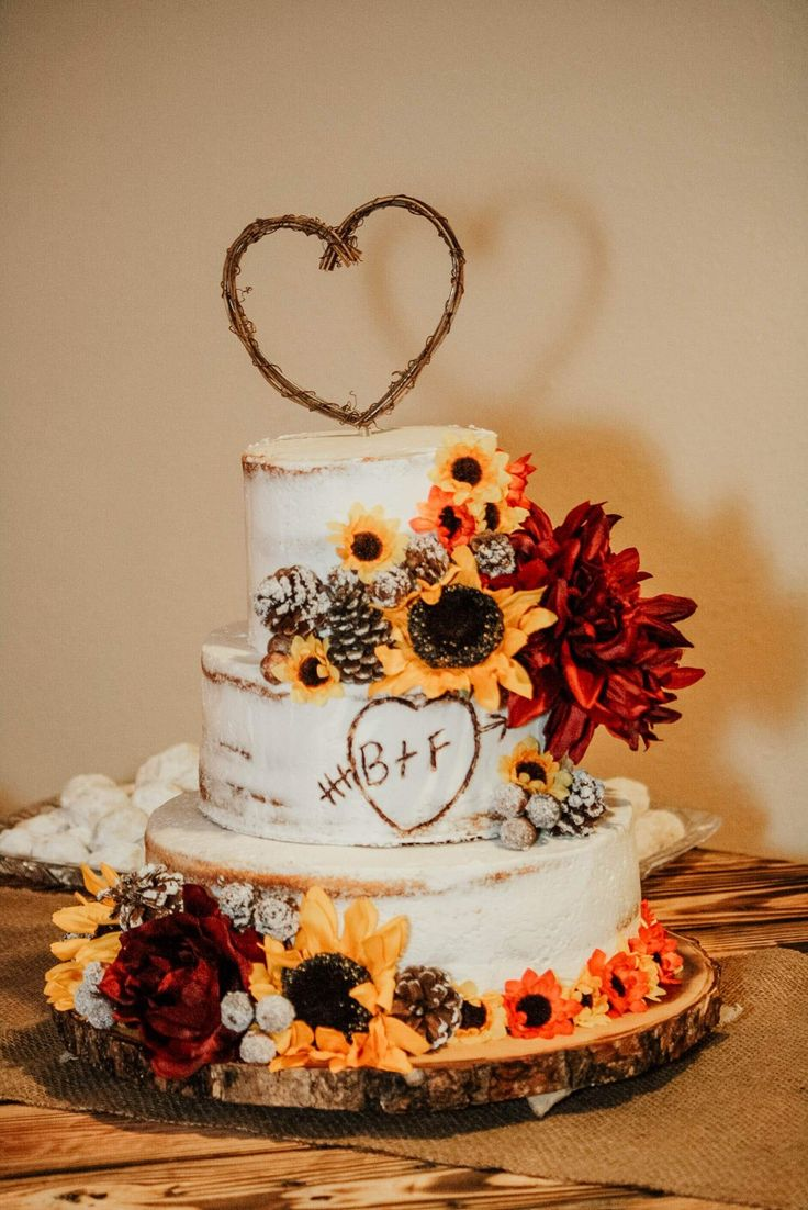 Sunflower, initials in heart, rustic wedding naked cake