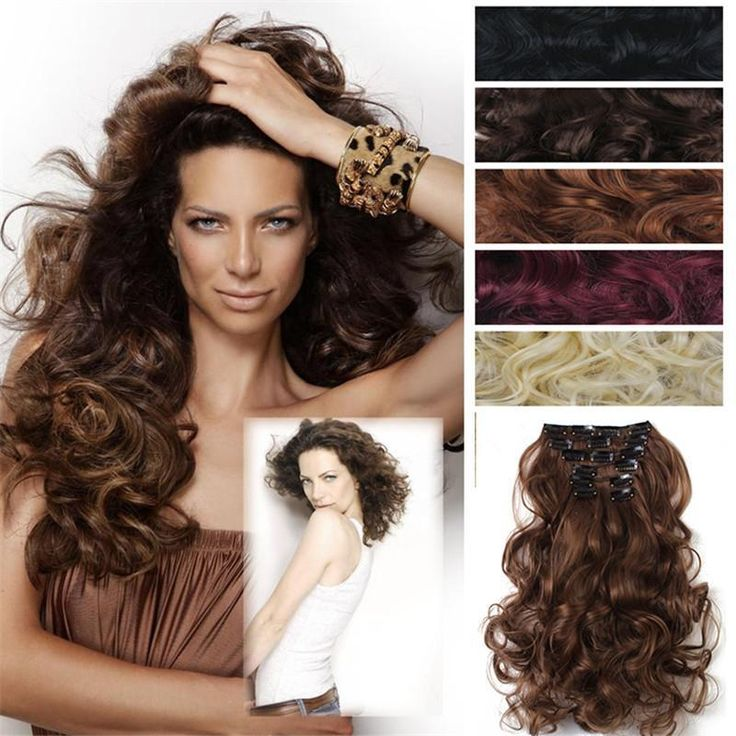 7pcs /lot curly hair extension clip in hair extension synthetic wavy hair extension 50cm 20inch