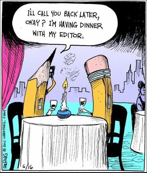 #Writer #Humor. Editor and writer go to dinner.
