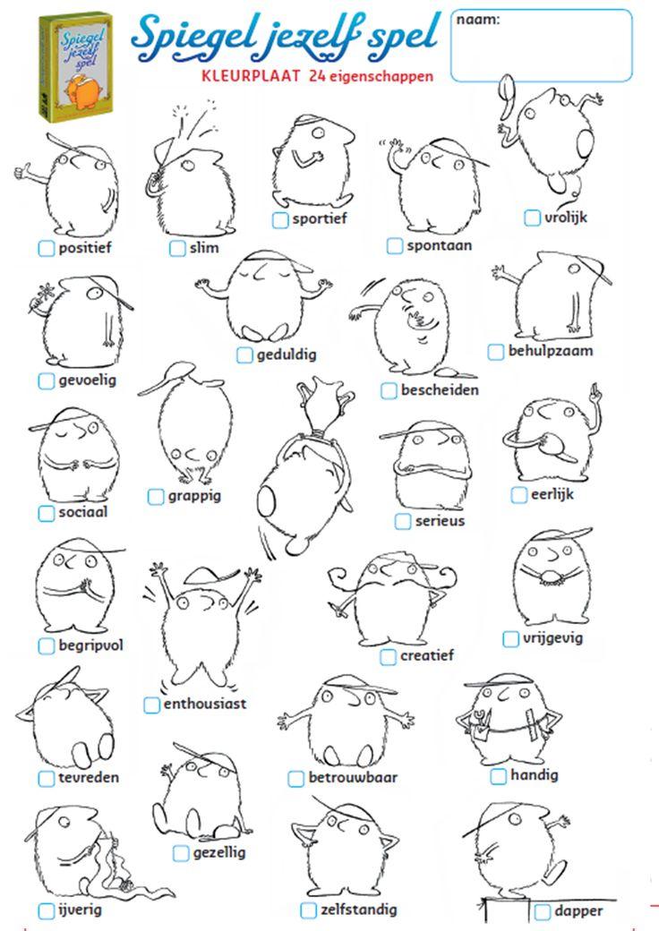 Onderwijs en zo voort ........: 1557. Emoties verwoorden : Kleurplaat met 24 eigenschappen