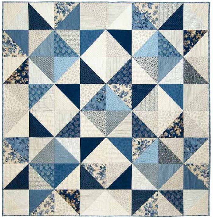 FREE PATTERN DOWNLOAD:Make this Stargazer Quilt using the Blue Sky collection by Laundry Basket Quilts. Designed by Edyta Sitar for Makower UK.