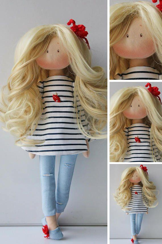 Muñecas Fabric doll Blue doll Collectable doll Tilda doll