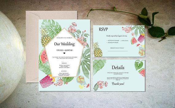 Blue tropical wedding invitation template Digital wedding