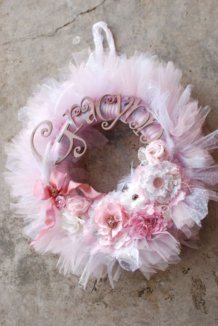 The Gracynn Wreath - Vintage Style Shabby Chic Tutu Tulle Wreath- Pink and Neutrals with varied pearl accents -lace- feathers. $87.00, via Etsy.