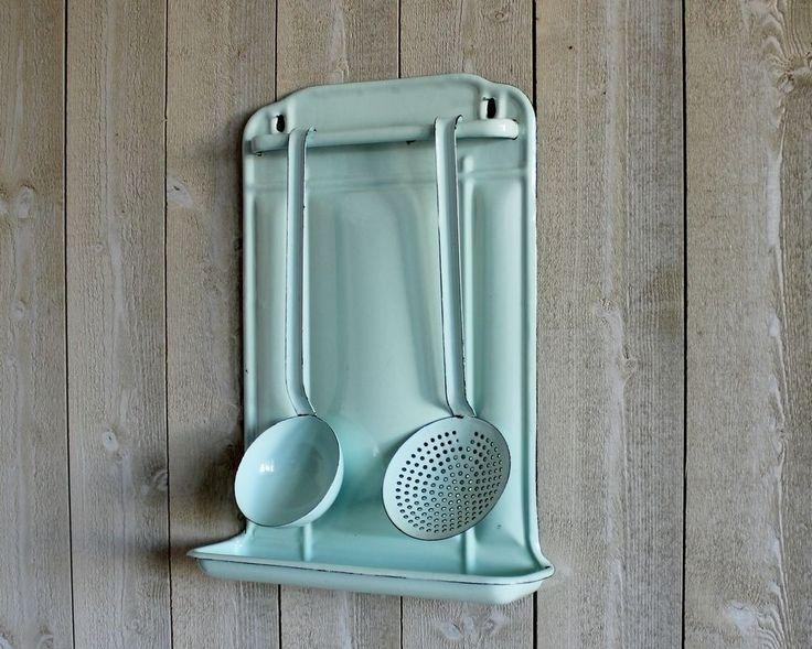 French enamel utensil rack. Mint. Sea green. Ladle and skimmer. Utensil rack.