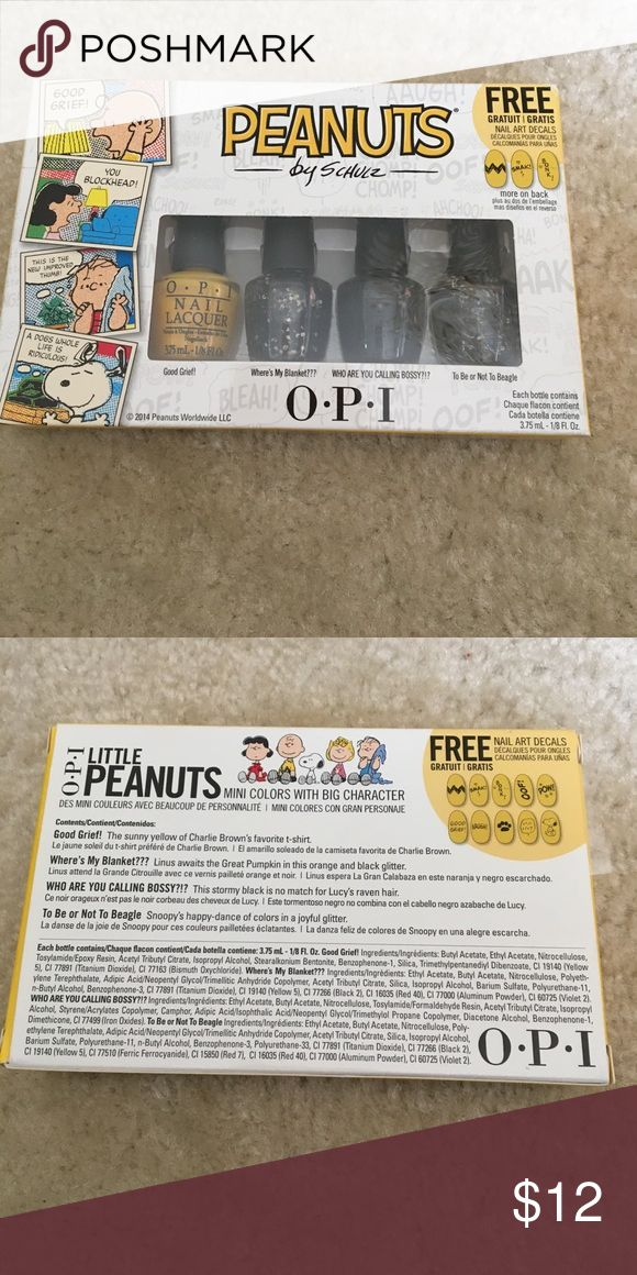OPI Little Peanuts 4 Piece Mini Nail Polish Kit OPI Little Peanuts 4 Piece Mini Nail Polish Kit. Colors include:: Good Grief, Where's My Blanket???, Who Are You Calling Bossy?!?, To Be Or Not To Beagle. Authentic. Brand New. Never Opened, Used or Tested. OPI Other