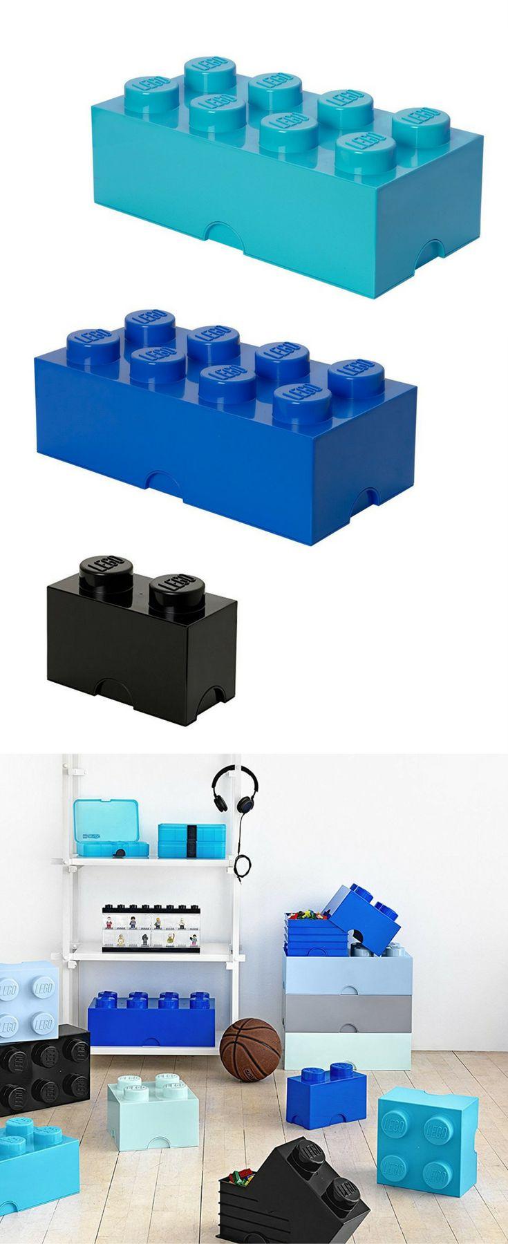 Spielzeugkiste im coolen LEGO Stein Design - perfekte Aufbewahrungsbox für das Kinderzimmer | LEGO Lizenzkollektion - Stapelbare Aufbewahrungsbox, 8 Noppen in  gelb, blau, hellblau, türkis, rot, grün, lime, schwarz, grau, weiß, rosa
