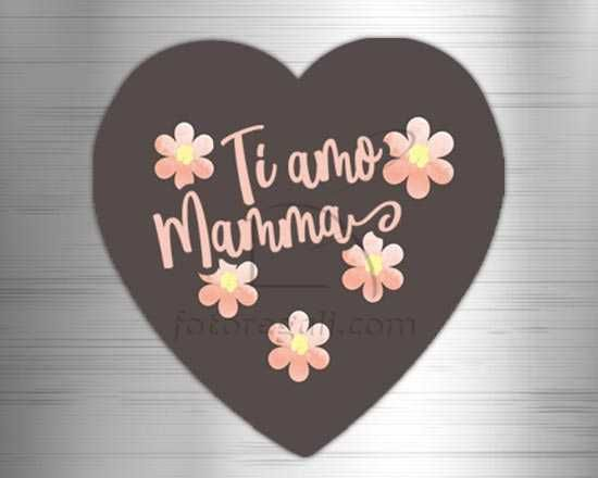 Calamita cuore masonite Ti amo mamma